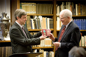 Professor William Taubman is presented with the Russian medal of  the Order of Friendship