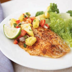 Spicy Tilapia, with Pineapple Pepper Relish