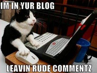 Meme of a cat typing on a computer. Reads: I'm in your blog leavin rude comments