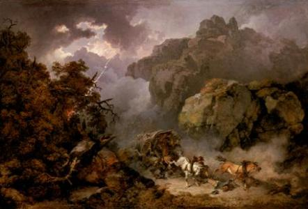 Landscape with  Overturned Wagon in a Storm by Philippe Jacques de Loutherbourg