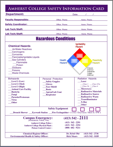 Safety Info Card