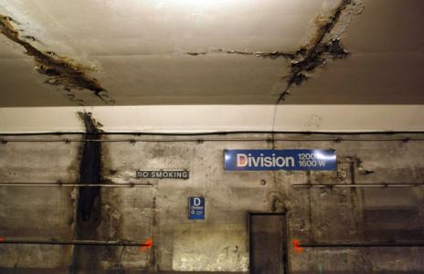 October 2010<br><b>The Division Street Station on the Chicago Transit Authoritys Blue Line</b><br>We began this book with ruins, and we end with ruins. The first set of ruins, at the World Trade Center, could be blamed on terrorist fanatics. The second set of ruins, evident in Americas vast array of crumbling bridges, rail lines, and levees, was a failure of our own makingthe result not of violence but of negligence. Private splendor and public squalor were two sides of the same coin, starkly reflecting which values had currency in post-millennium America and which did not. Our architecture, the great Chicago architect Louis Sullivan once said, reflects us, as truly as a mirror. Never has that observation been more true than in the tumultuous age of terror and wonder.<br><i>Chicago Tribune photo by Phil Velasquez</i>