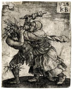 <p>Witch Attacking the Devil, Jacob Binck, 1528</p>