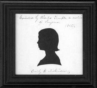 Silhouette of Emily Dickinson cut by Charles Temple, 1845.