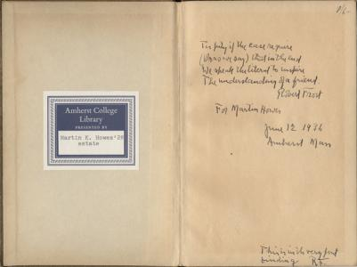 Inscription by Robert Frost in A Boy's Will (1913)