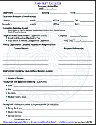 blank emergency action plan template
