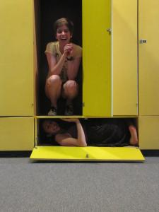 We (somehow) managed to fit inside these instrument lockers