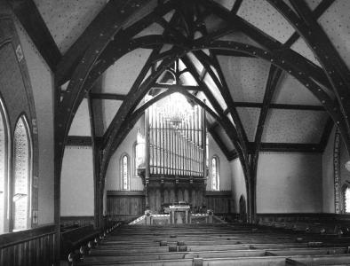 Stearns Church interior looking west