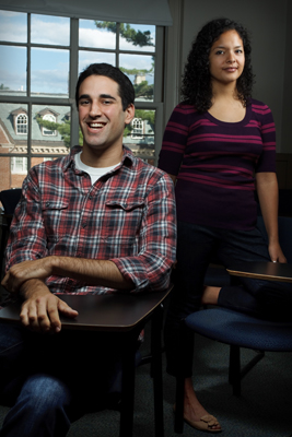 Daniel Alter '13 and Daniella Fragoso '13 sit for a portrait in the Converse classroom where they met.