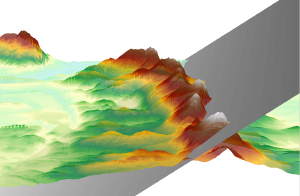 A three-dimensional view of the Holyoke Range, looking towards the west, and displaying an abstracted structural layer of rock that collapsed to its south.