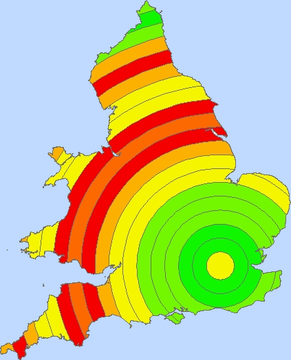 A map of the United Kingdom displaying population in the 1900s, in concentric buffers surrounding London.