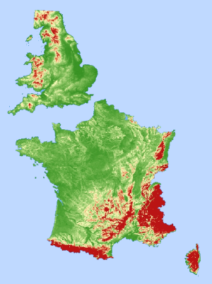 A map showing the topography of Britain and France.
