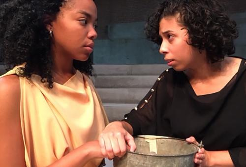 Lindsay Turner as Ismene (on left) and Irisdelia Garcia as Antigone during rehearsals