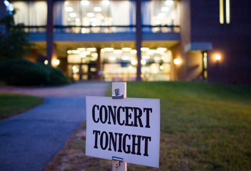 Sign in front of music building that reads