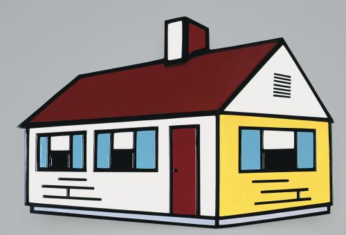 Lichtenstein sculpture of a house
