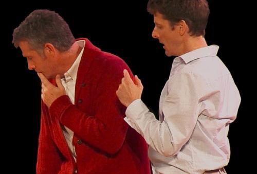 Scarlet Professor actors on stage