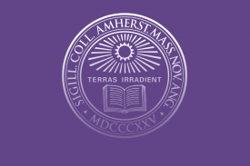 Amherst seal: sunburst and open book with phrase Terras Irradient