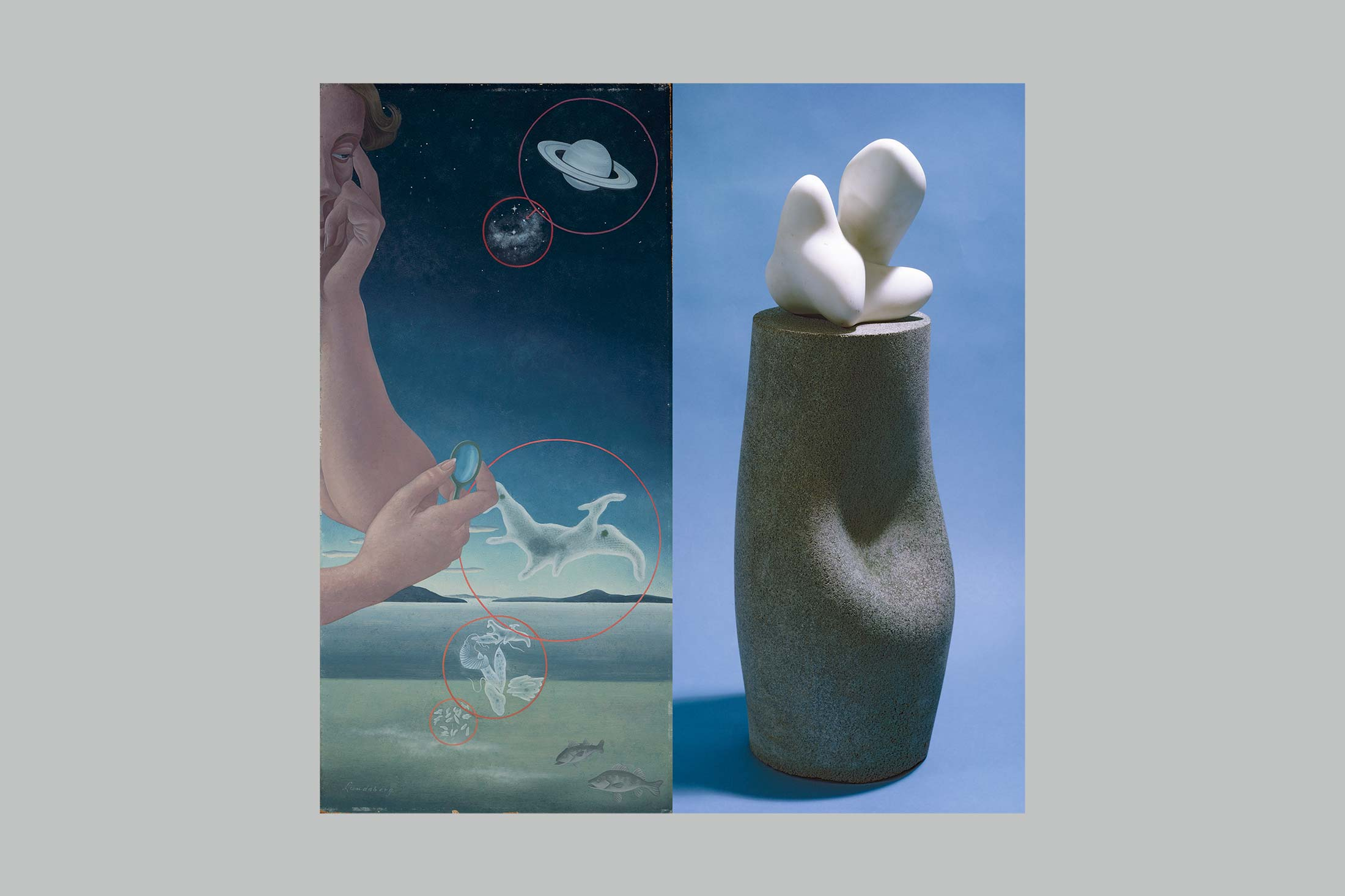 Left: Microcosm and Macrocosm (1937). Helen Lundeberg; Right: Mirr (1936, base 1960), by Jean Arp. Sirató