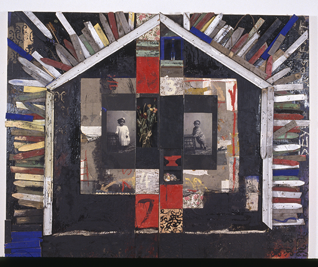 Radcliffe Bailey, (American, 1968—). Seven Steps East, 1993. Mixed media, 92 ½ x 114 inches. Courtesy of the artist.