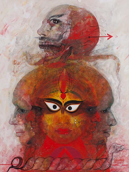 Sunil Das (Indian, born 1939), Untitled (Shiva?). Mixed media on card. Gift of Leonard Gordon (Class of 1959) in memory of Professor Frank Trapp.