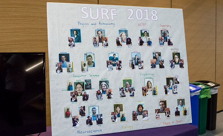 SURF Poster featuring Amherst students and faculty who conducted summer research in the humanities and sciences