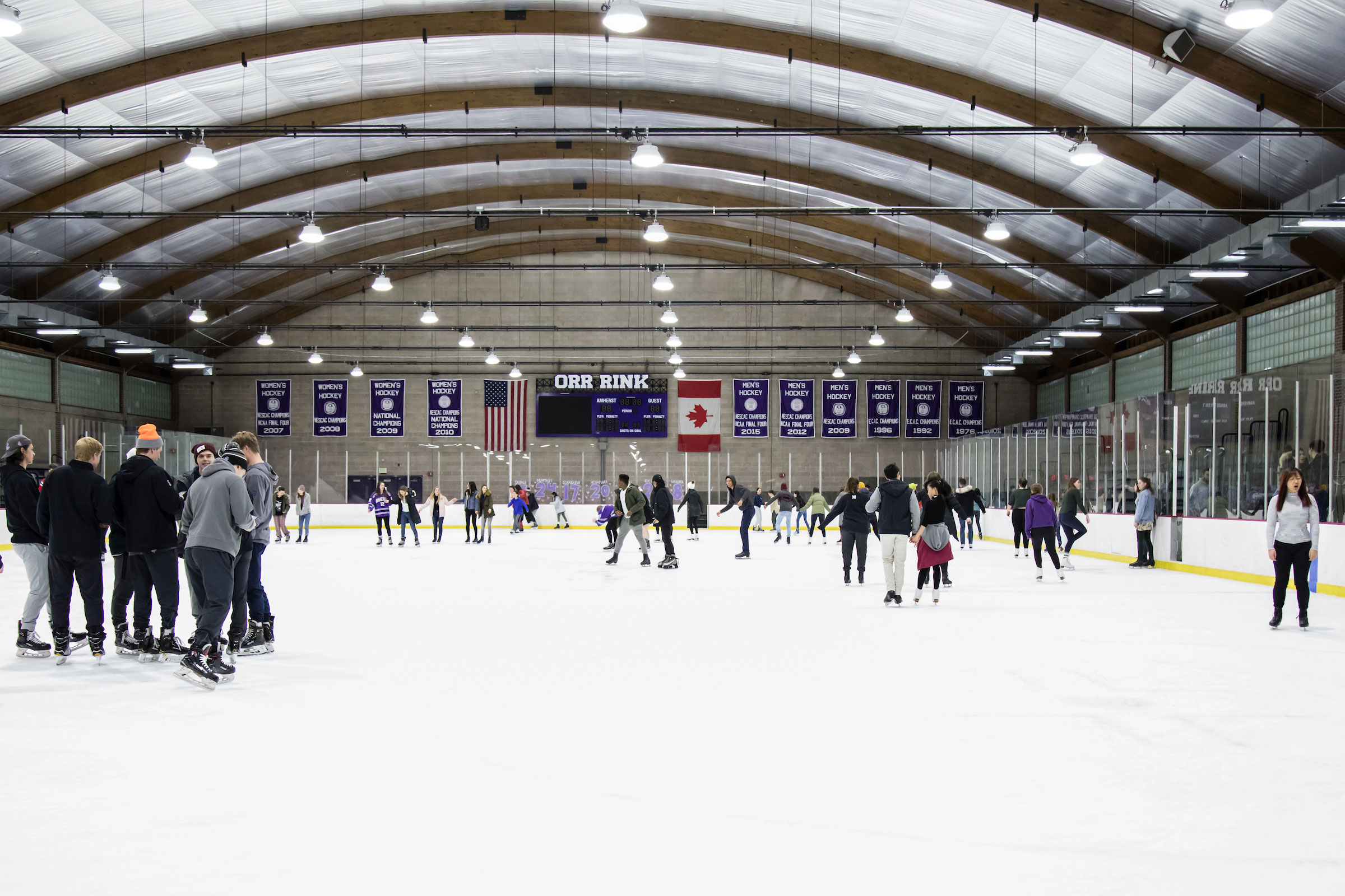 Students and community members skating in Orr Rink