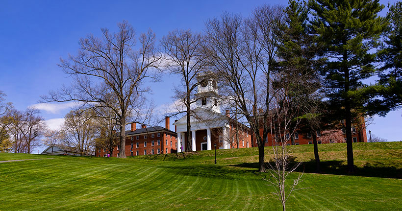 A view of Johnson Chapel in the spring time