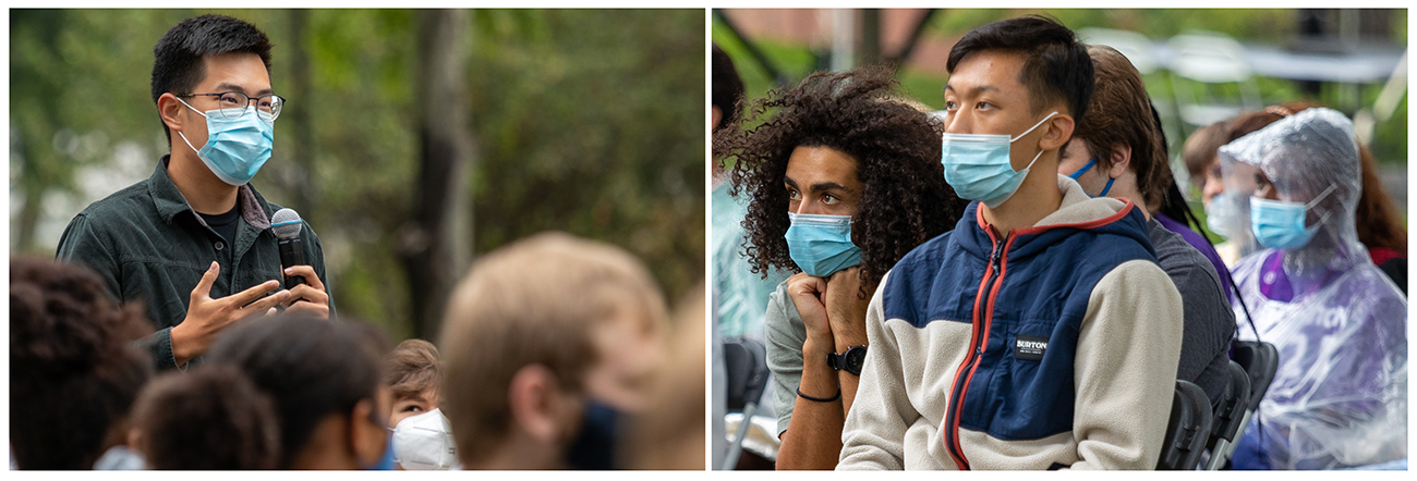 Two photos of students wearing masks listing to a lecture and speaking into a microphone