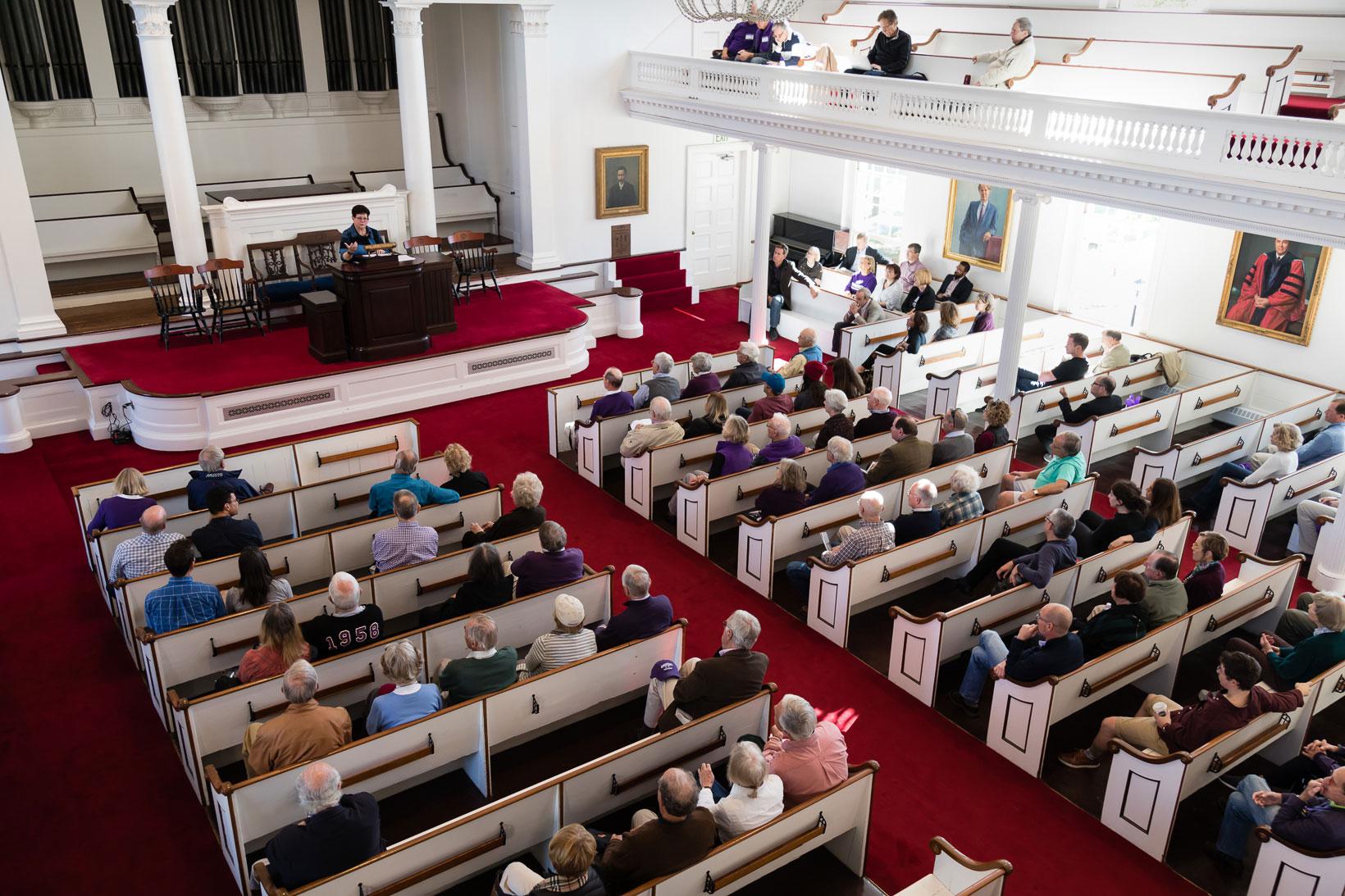 President Martin speaking in Johnson Chapel