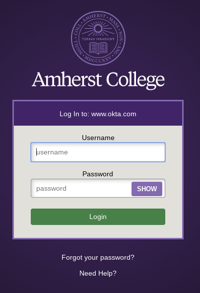 Amherst College login page