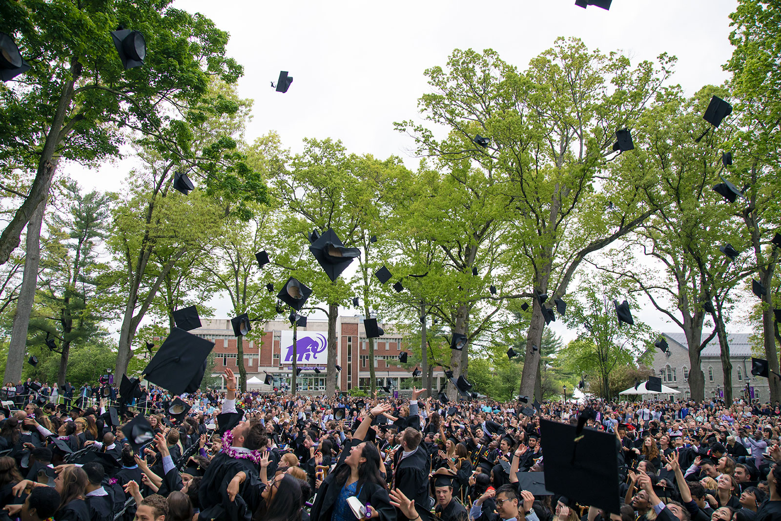 Caps flying at Commencement