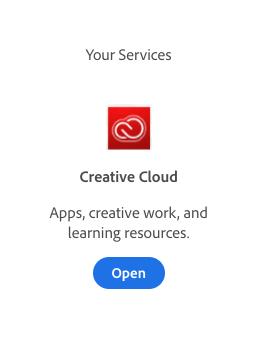 "Click ""Open"" under Creative Cloud"