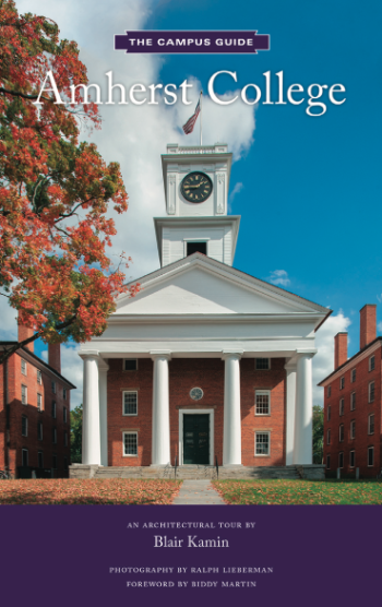 A book with the title Amherst College: An Architectural Tour and a photo of Johnson Chapel