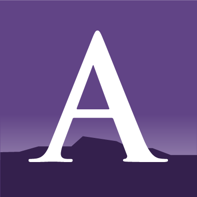 Amherst College social icon, showing the letter A against an image of the Holyoke Range, in two purples.