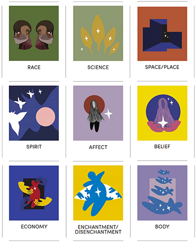 Nine illustrations showing race, science, space/place, spirit, affect, belief, economy, enchantment/disenchantment and body