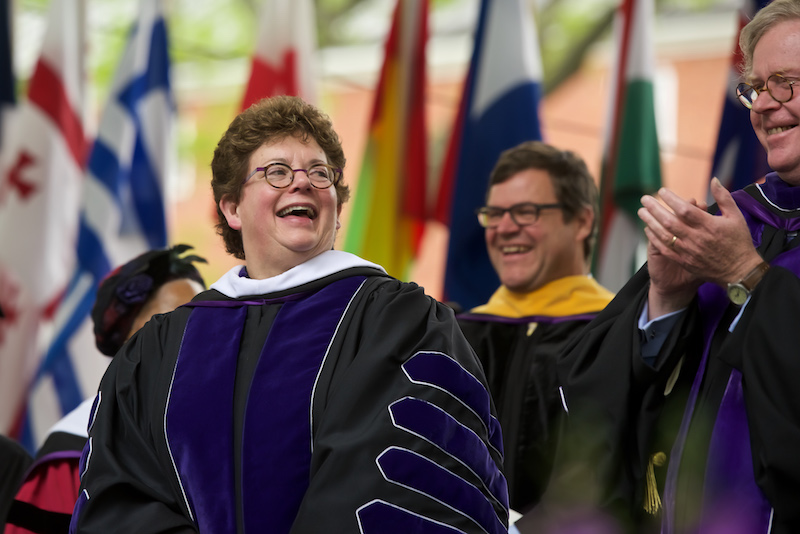 President Biddy Martin enjoying a moment during Commencement