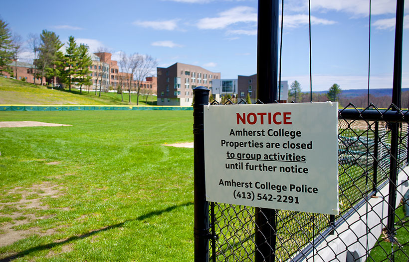 Sign indicating that the campus athletic facilities are closed