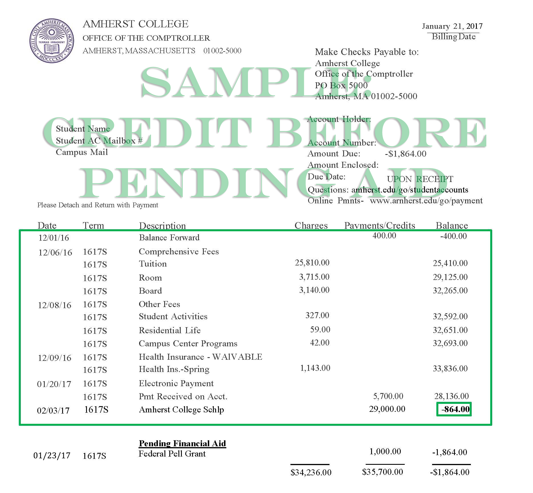 Sample Bill showing a credit balance before pending aid