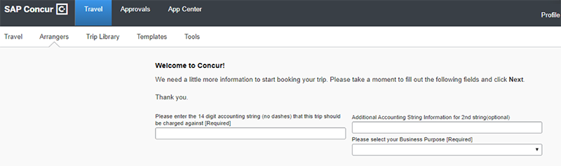 A website page saying Welcome to Concur with three fields for an accounting string; second string option; and business proposal