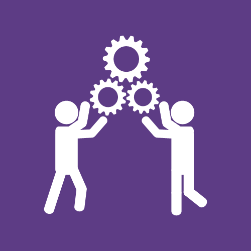 A logo of two people holding gears