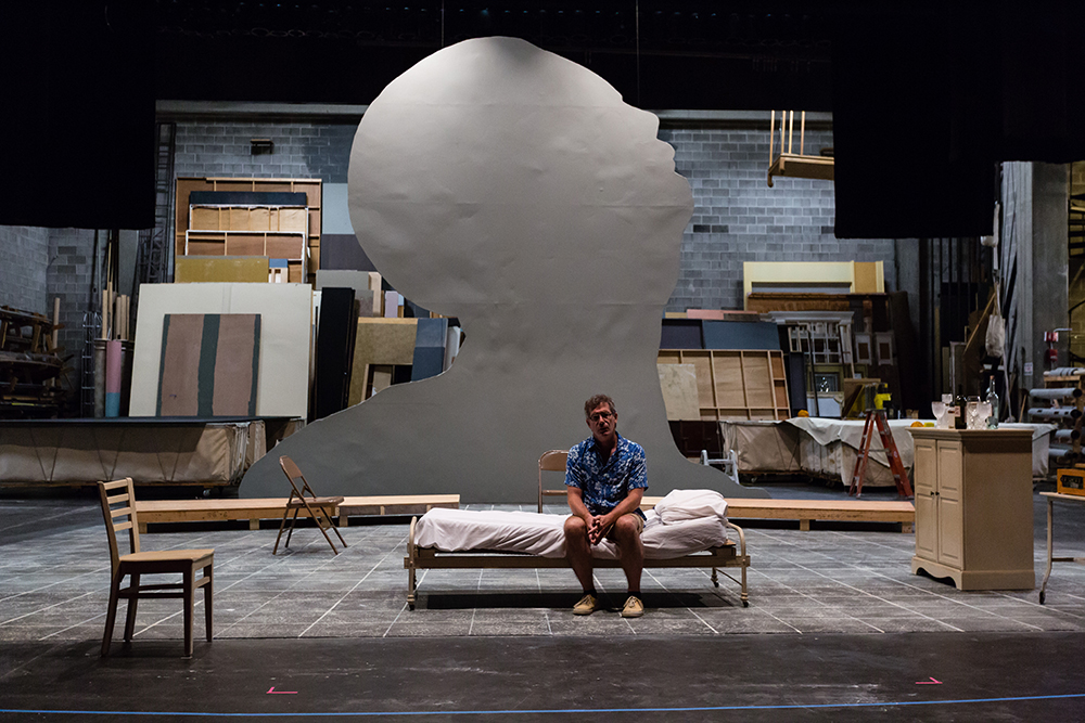 the actor who plays Newton Arvin sitting on a single bed with white sheets on a gray stage, behind him, a large, gray silhouette of a man's profile looking up