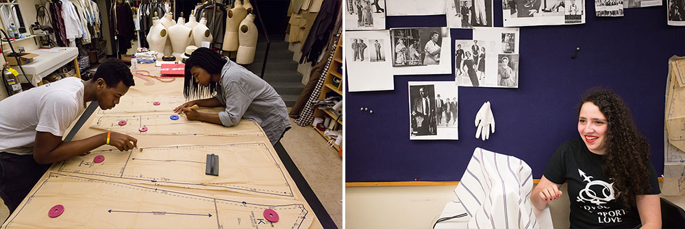Student interns working in the costume shop