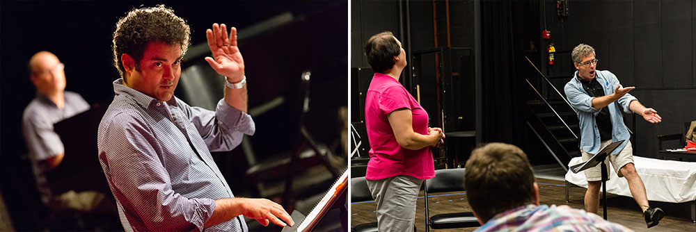 Conductor on left, actors on right