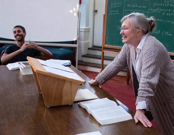 Professor Jyl Gentzler teaching class