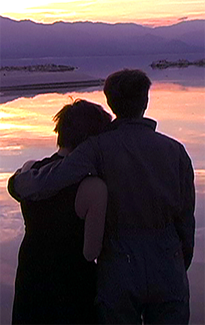 A photo of two people with their arms around each other starring out at a lake at sunset