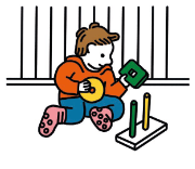 An illustration of a child sitting and playing with toys