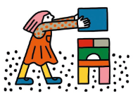 An illustration of a child playing with building blocks