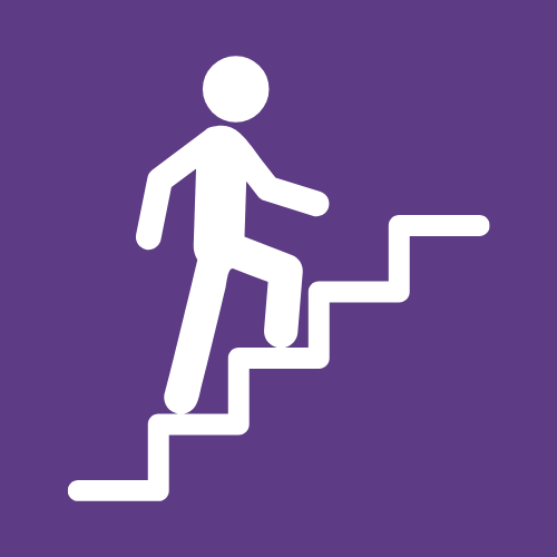 A logo of a person climbing a flight of stairs