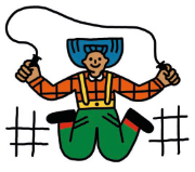 An illustration of a child jumping rope