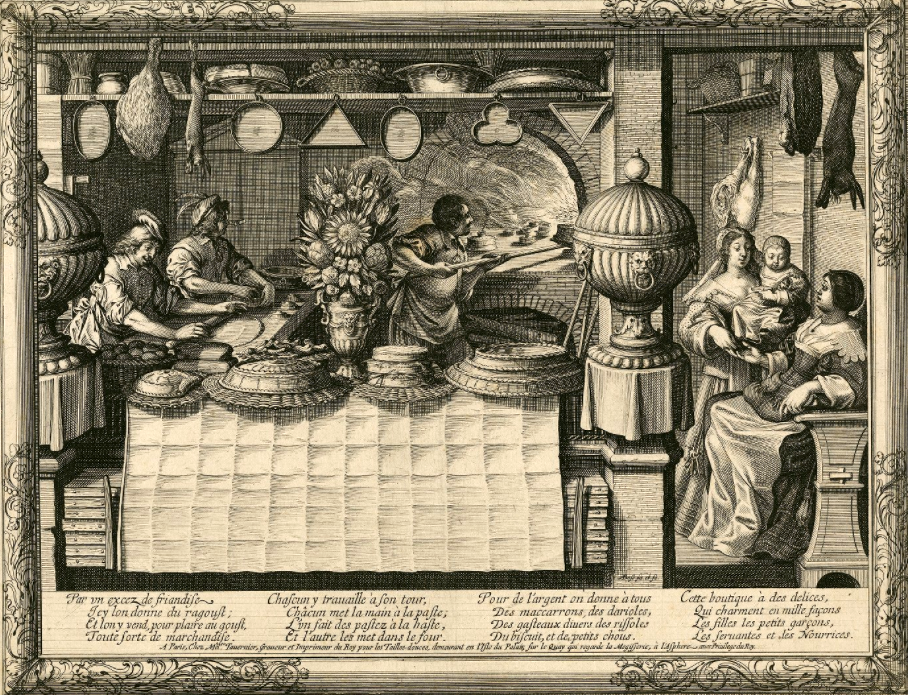 "Abraham Bosse. ""The Pastry Chef,"" from his series ""Les Metiers."" Engraving, ca. 1634. Folger Shakespeare Library."